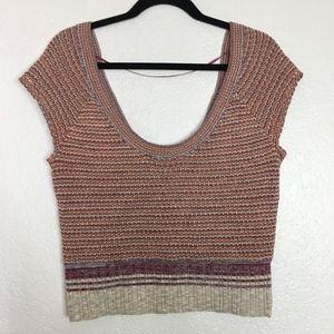 Free People orange heather short sleeve sweater
